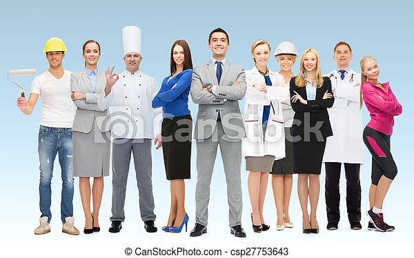 happy businessman over professional workers - csp27753643