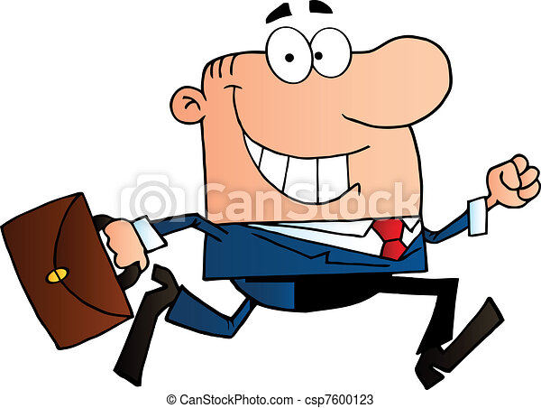 happy businessman running businessman running to work with rh canstockphoto com