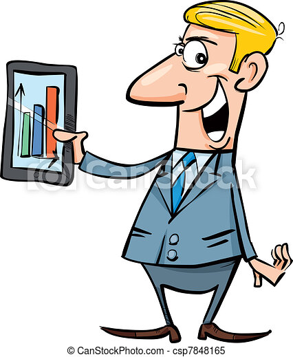 cartoon illustration of happy businessman with chart on clipart rh canstockphoto com