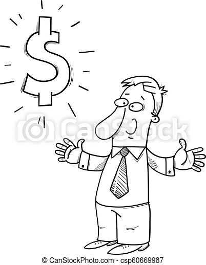 happy businessman with dollar sign cartoon - csp60669987