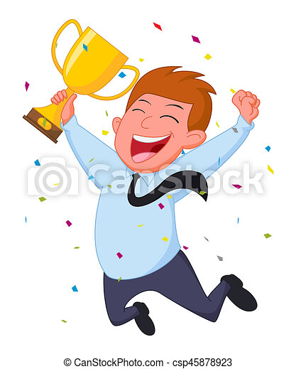 illustration of happy businessman with trophy and confetti clip art rh canstockphoto com
