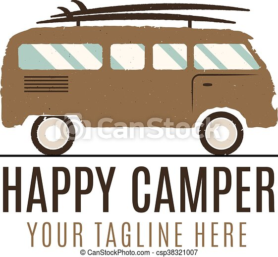 Happy Camper Logo Design Vintage Bus Illustration Rv Truck Emblem Van Icon Template Surfing Equipment Caravan Adventure Concept Outdoor Family Wagon
