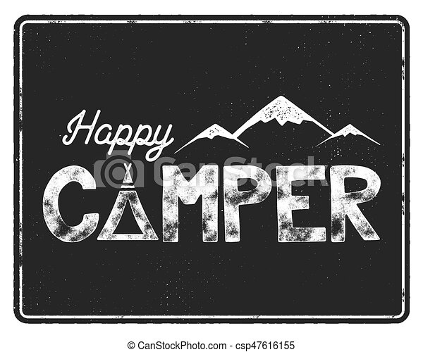 Happy Camper Poster Template Tent Mountains And Text Sign Retro Monochrome Design Hiking Emblem Stock Vector Isolated On Black Background