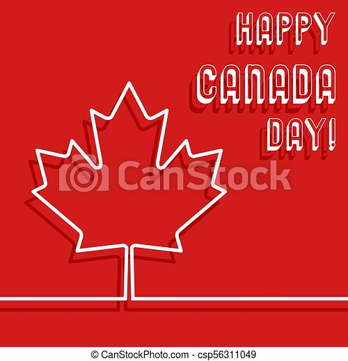 d57318afd Happy canada day poster. maple leaf line design with text message for  greeting card, printing products, flyer, brochure covers or booklet. vector  ...