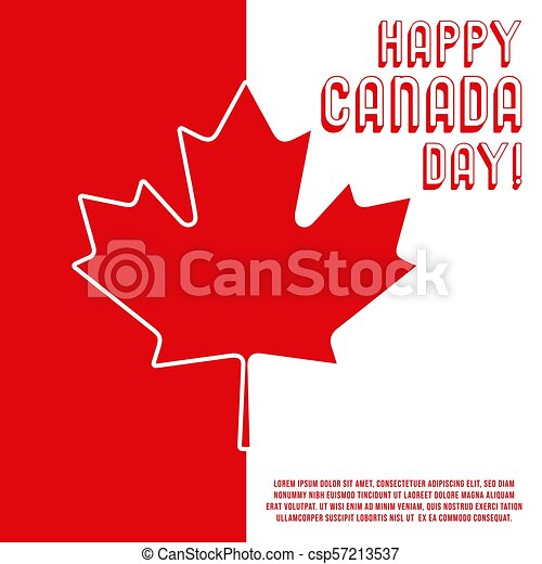 5fdd4393e Happy canada day poster. maple leaf with text message for greeting card,  printing products, flyer, brochure covers or booklet. vector illustration.