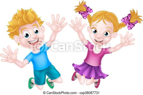 Happy Cartoon Boy and Girl Jumping - csp38087731