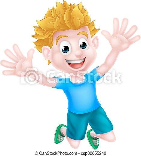 Happy Cartoon Boy - csp32855240