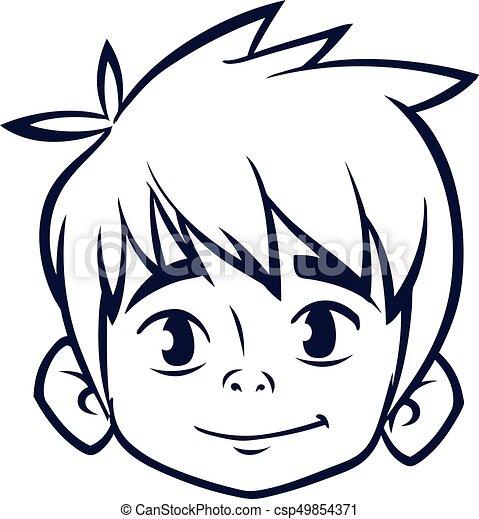 Happy cartoon boy head outline vector illustration for coloring book
