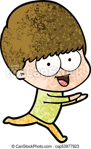 happy cartoon boy running - csp53977923