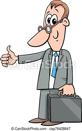happy cartoon businessman with briefcase - csp76428647