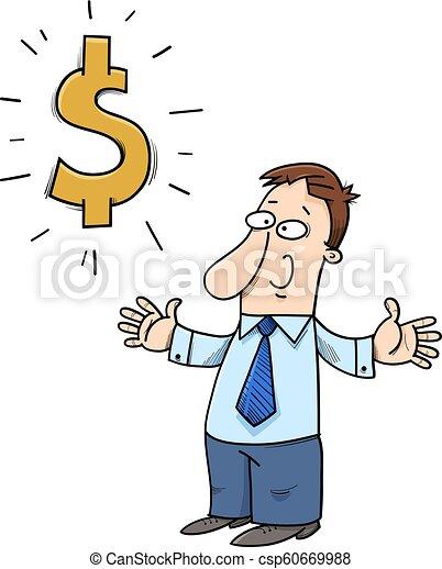 happy cartoon businessman with dollar sign - csp60669988
