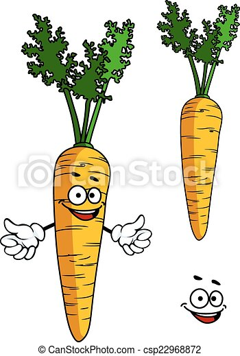 Happy cartoon carrot character - csp22968872