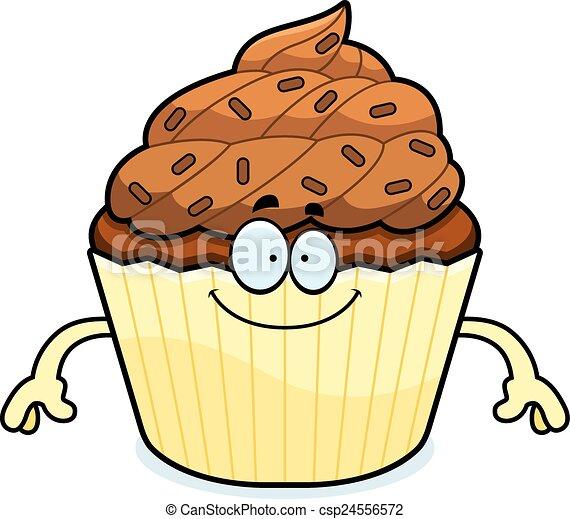 happy cartoon chocolate cupcake a cartoon illustration of a