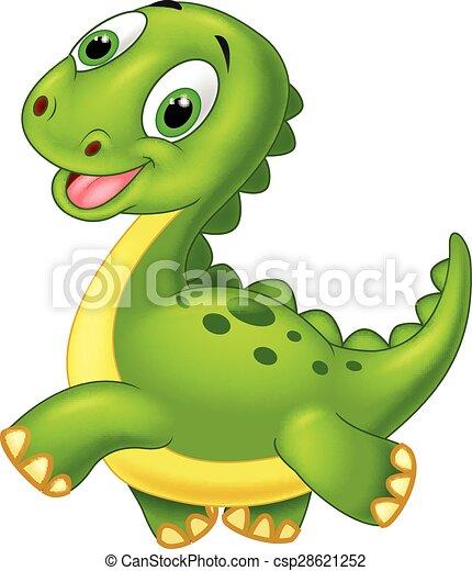 Happy cartoon dinosaur - csp28621252