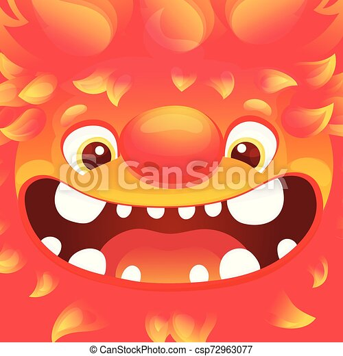 Happy cartoon fire monster - square avatar with funny alien character with flame skin - csp72963077