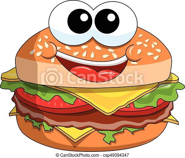 happy cartoon hamburger character isolated on white eps vector rh canstockphoto com cartoon burger vector cartoon burger van