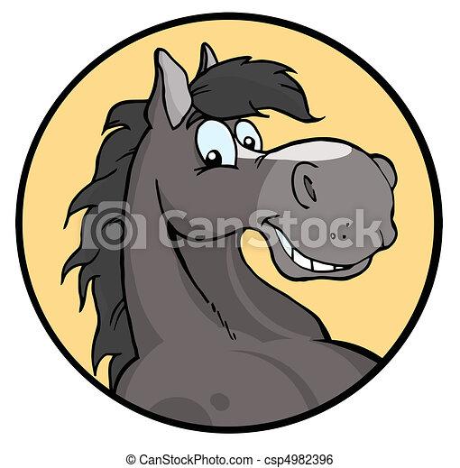 Happy Cartoon Horse Happy Gray Horse Face Over A Yellow Circle