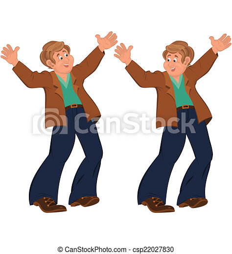 Happy cartoon man standing in blue pants happily holding hands u