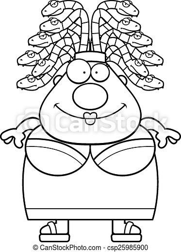 Happy Cartoon Medusa - csp25985900