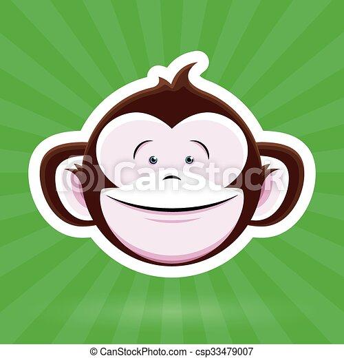 Happy Cartoon Monkey Face - green - csp33479007