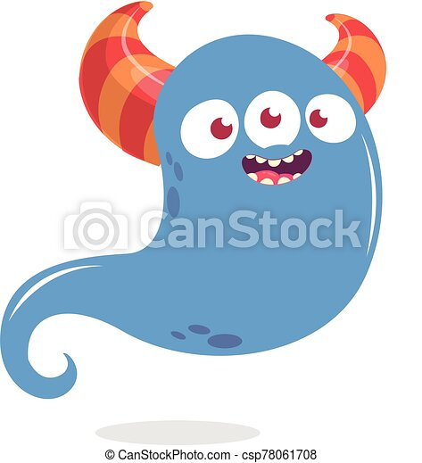 Happy cartoon monster or ghost. Vector Halloween illustration of blue ghost - csp78061708