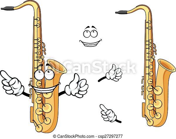 Happy cartoon saxophone instrument character - csp27297277
