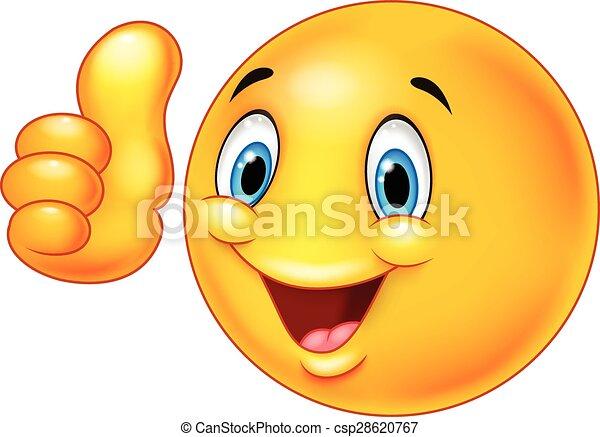 Happy cartoon smiley emoticon givin - csp28620767
