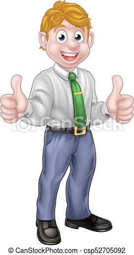Happy Cartoon Thumbs Up Man - csp52705092