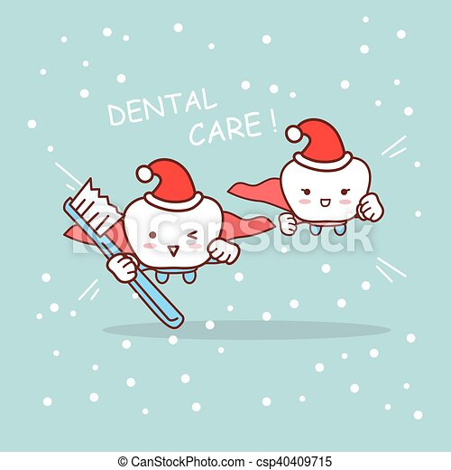 Happy cartoon tooth and dentist. Happy christmas cartoon super tooth ...