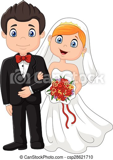 vector illustration of happy cartoon wedding ceremony bride and groom rh canstockphoto com cartoon pictures wedding couples cartoon wedding pictures clip art