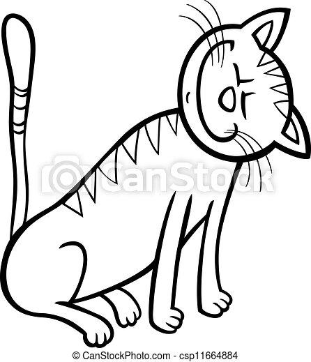 happy cat cartoon for coloring book - csp11664884