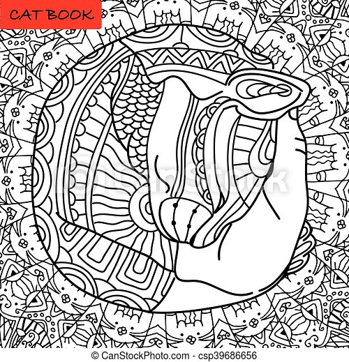 Happy Cat Mutual Love Coloring Book Page For Adults