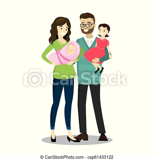 Happy Caucasian Family With Newborn Baby Isolated On White Background Cartoon Vector Illustration