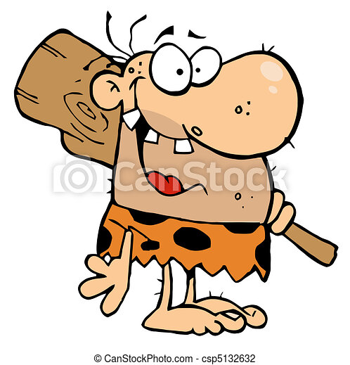 happy caveman with club toothy caveman grinning and vector rh canstockphoto com caveman clipart pictures caveman clipart black and white