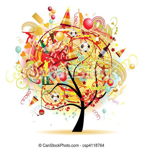 Happy celebration, funny tree with holiday symbols - csp4118764