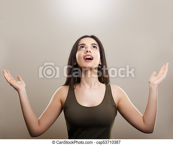 Happy cheerful woman with arms up - csp53710387