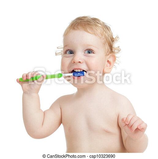 Happy child brushing teeth isolated on white - csp10323690