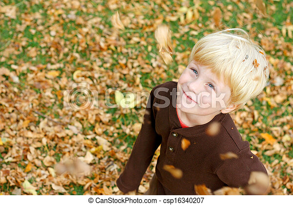 Happy Child Play in Falling Leaves - csp16340207