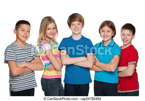 Happy children against the white - csp24780484
