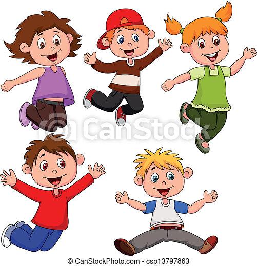 happy children cartoon vector - Free Children Cartoon