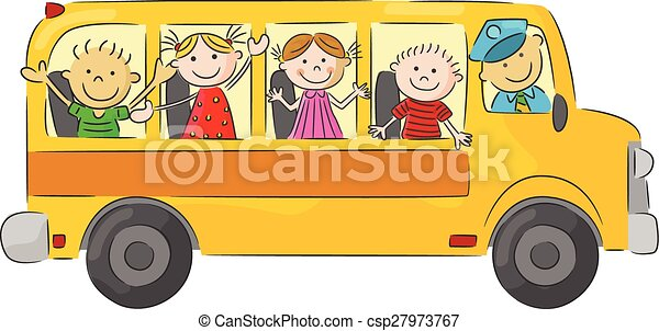 Vector illustration of happy children cartoon on school bus.