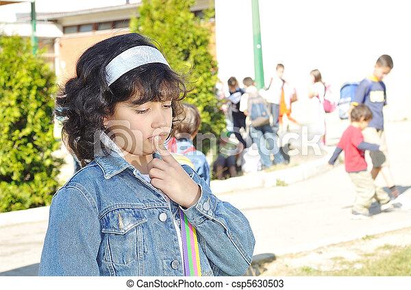 Happy children in front of the school, outdoor, summer to fall - csp5630503