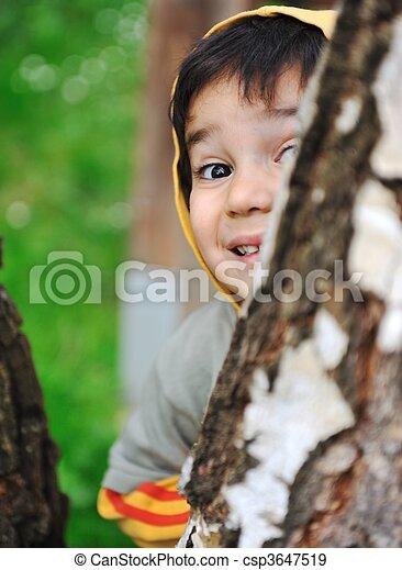 happy children in nature outdoor - csp3647519