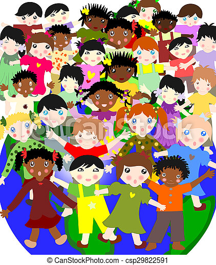 Happy children of different races in the world, the concept-world for children - csp29822591