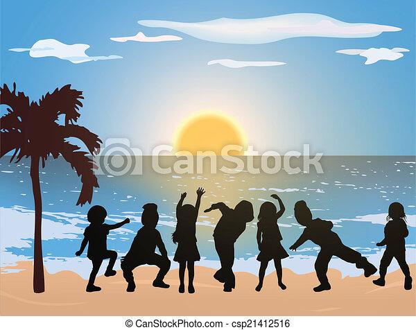 Happy children on the beach - csp21412516