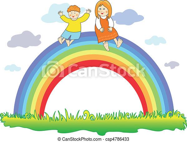 Happy children on the rainbow - csp4786433