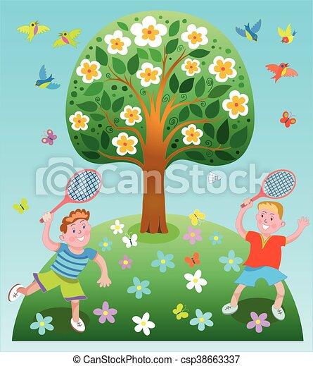 Happy children playing badminton - csp38663337