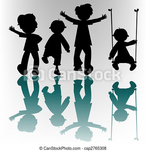 happy children silhouettes - csp2765308