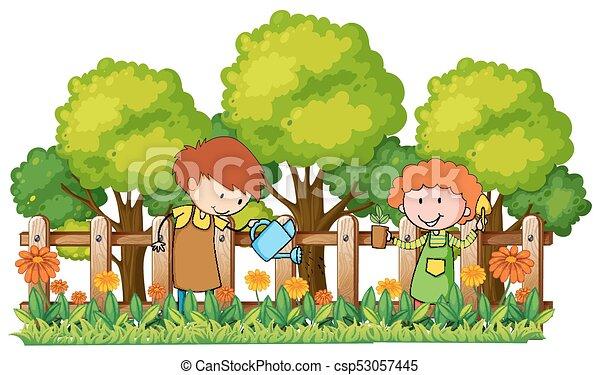 Happy Children Watering Plants In Garden Vector