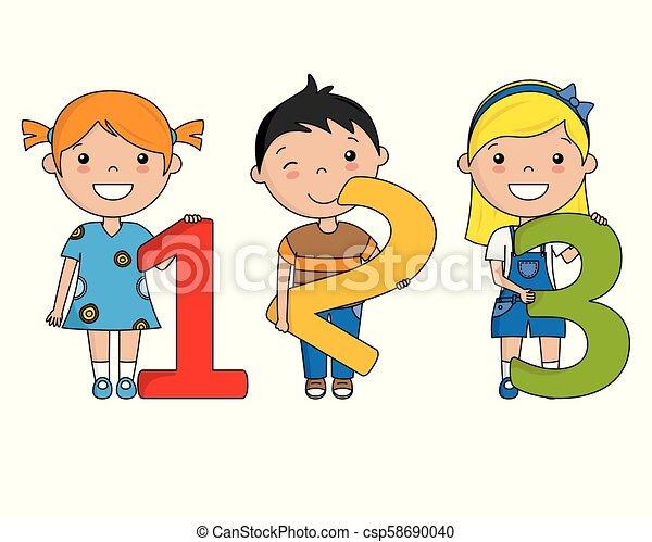 happy children with numbers - csp58690040